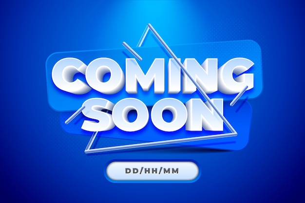 Realistic coming soon blue background