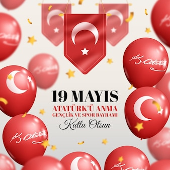 Realistic commemoration of ataturk, youth and sports day illustration