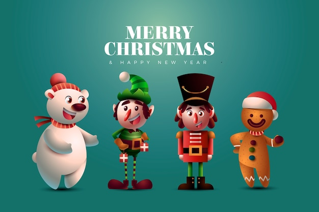 Realistic commercials cartoon christmas characters