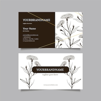 Realistic company card with flowers