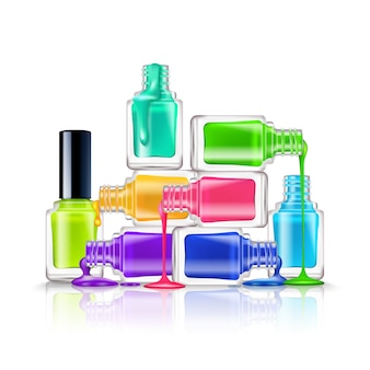 Realistic composition of colorful fluorescent nail polishes on white background