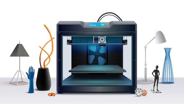 Реалистичная композиция с 3d принтером и различными печатными объектами векторная иллюстрация