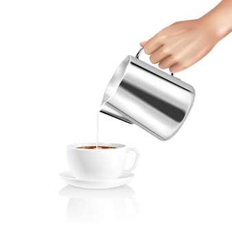 Realistic composition with barista hand pouring milk into cup of coffee