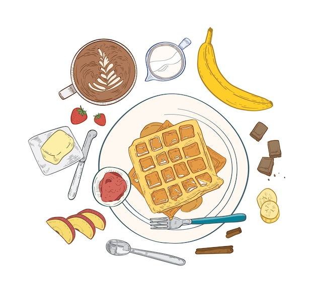 Realistic composition with delicious sweet breakfast meals and dessert morning food