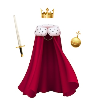 Realistic composition with red king cloak, crown, sword and orb isolated