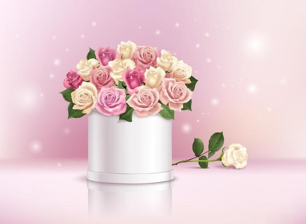 Реалистичная композиция с романтическим букетом разноцветных роз в коробке