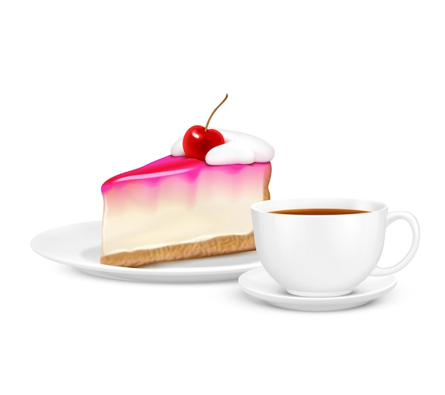 Realistic composition with white cup of tea and piece of cherry cheesecake