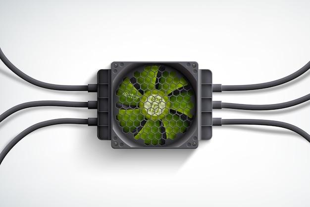 Реалистичный компьютерный кулер с зеленым вентилятором и концепцией дизайна черных проводов на белом
