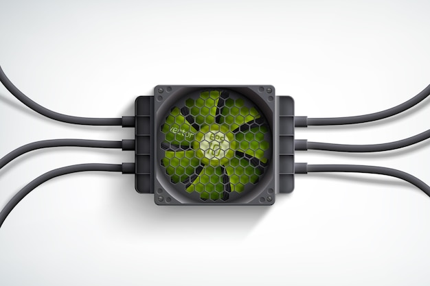 Realistic computer cooler with green fan and black wires design concept on white