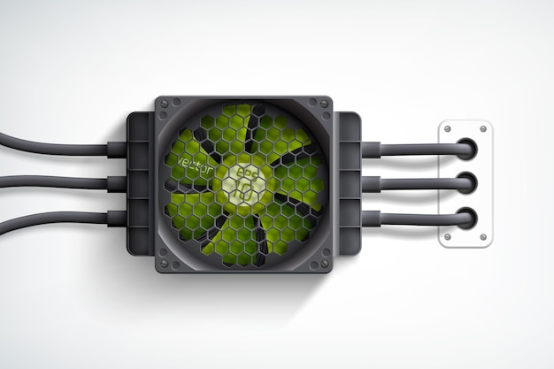 Realistic computer cooler with green fan design concept on white