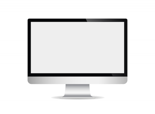 Realistic computer display with blank screen isolated on white background