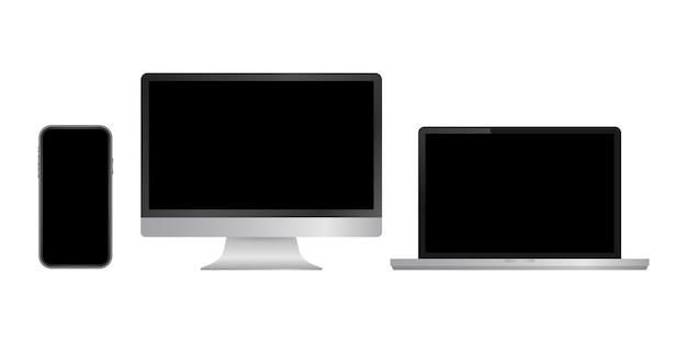 リアルなコンピューター、ラップトップ、スマートフォン、タブレット。画面表示テンプレートを監視します。ベクトルストックイラスト