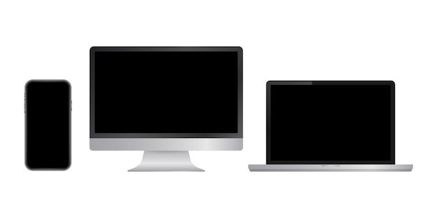 Realistic computer laptop smartphone and tablet. monitor screen display template. vector stock illustration