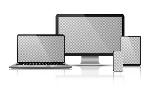 투명 스크린 현실적인 컴퓨터 노트북 스마트 폰입니다. 태블릿 가젯 템플릿, pc 노트북 모바일 장치 템플릿.