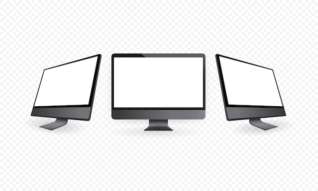 Realistic computer monitor in front and side view. metal desktop mockup with white screen. template of computer in space gray color. vector eps 10.