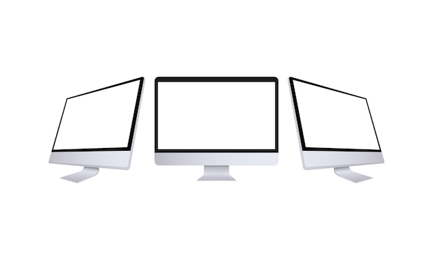 전면 및 측면 보기에서 현실적인 컴퓨터 모니터입니다. 흰색 화면이 있는 금속 데스크탑 모형입니다. 실버 색상의 컴퓨터 템플릿입니다. 데스크탑 pc의 다른 보기. 벡터 eps 10입니다.