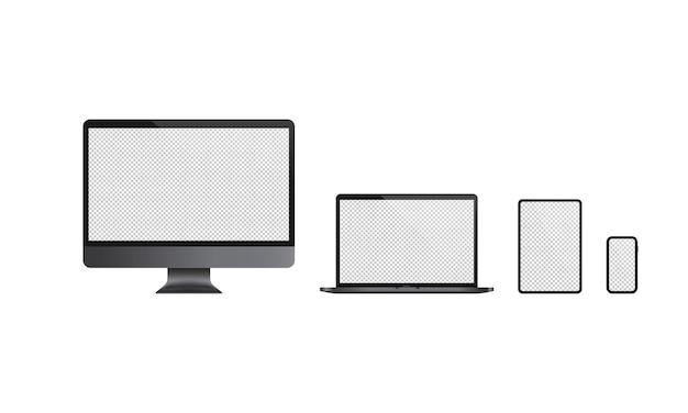 현실적인 컴퓨터 모니터, 노트북, 태블릿 및 휴대 전화 아이콘 세트. 어두운 테마입니다. 빈 디스플레이. 공책. 격리 된 흰색 배경에 벡터입니다. eps 10.