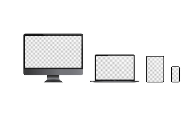 Realistic computer monitor, laptop, tablet and mobile phone icon set. dark theme. blank display. notebook. vector on isolated white background. eps 10.