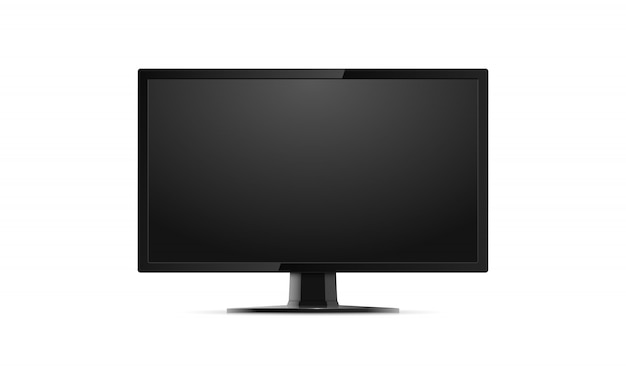 Realistic computer monitor, screen isolated