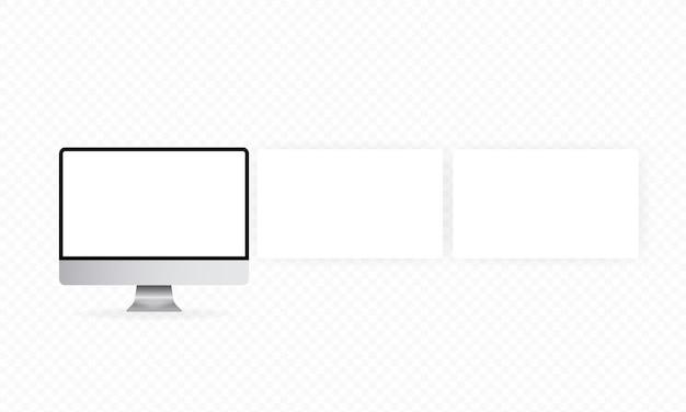 빈 화면으로 현실적인 컴퓨터 모니터