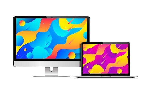 Реалистичный экран компьютера и ноутбука с цветным градиентным экраном обоев