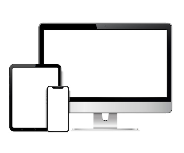 Realistic computer screen, tablet, smartphone