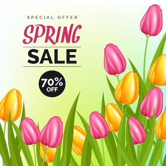 Realistic concept for spring sale