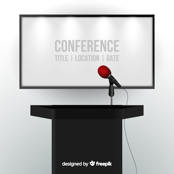 Realistic conference podium background