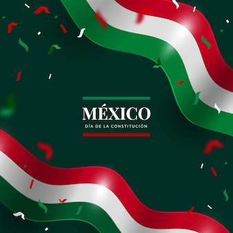 Realistic constitution day background with mexican flag