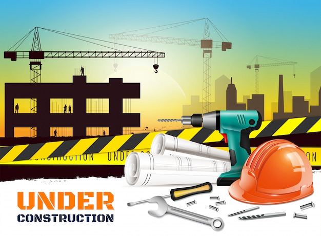 Realistic construction background with under construction headline and different equipment on front side  illustration