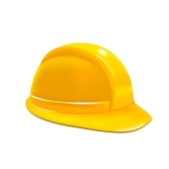 현실적인 건설 또는 작업 안전 노란색 헬멧 또는 모자 디자인 요소 웹. 삽화