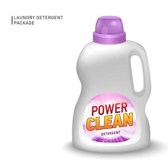 Realistic container for liquid detergent with designed etiquette.