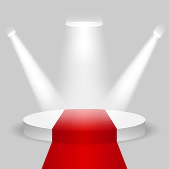 Realistic contest stage, empty white podium with red carpet, place for product placement for presentation, winner podium or stage on gray background