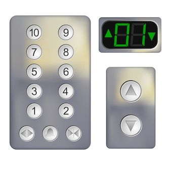 Realistic control panel of the elevator on white