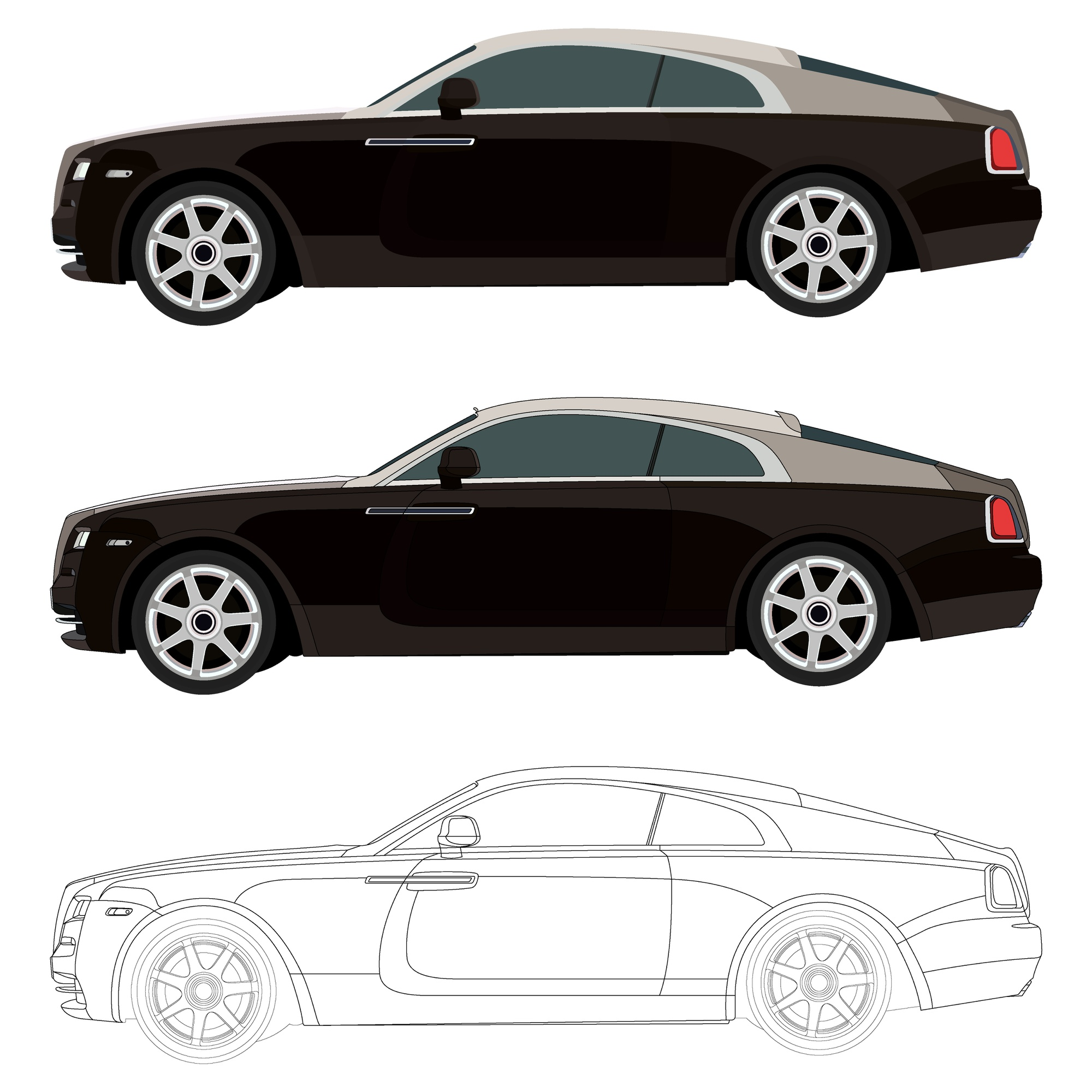 Realistic cool black car with details