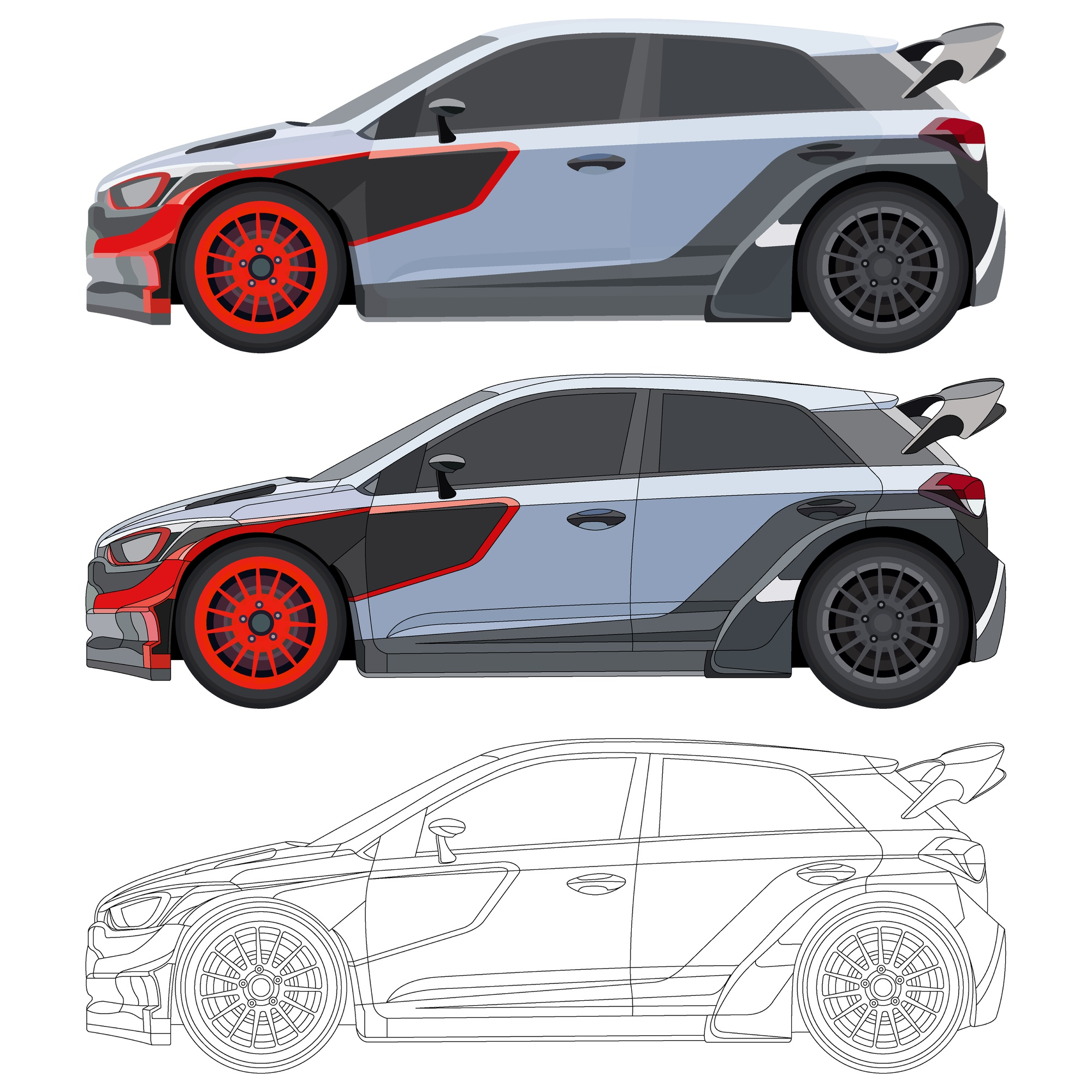 Realistic cool car with details