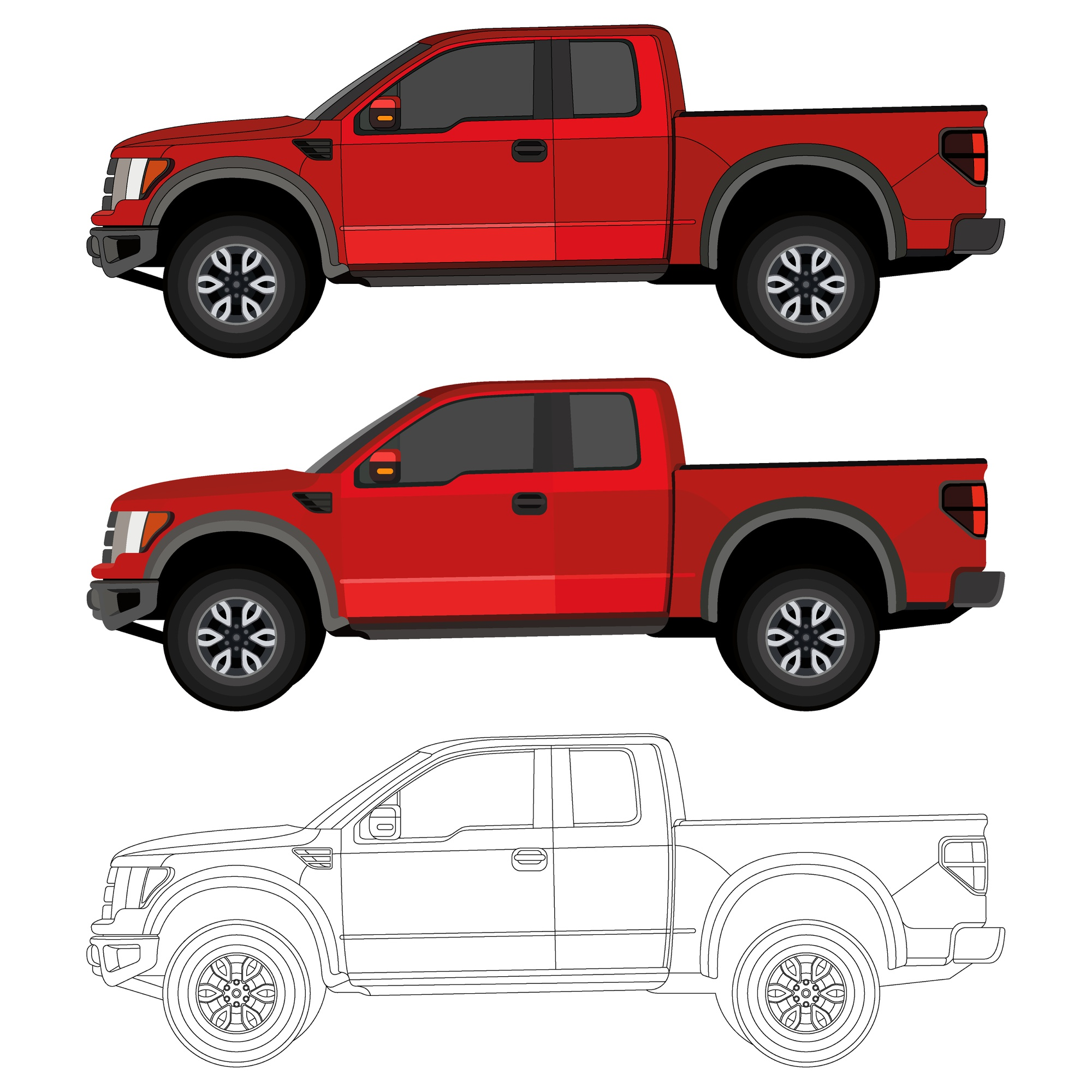 Realistic cool red truck with details