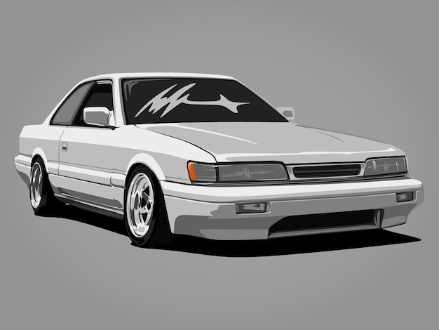 Realistic cool white car detail