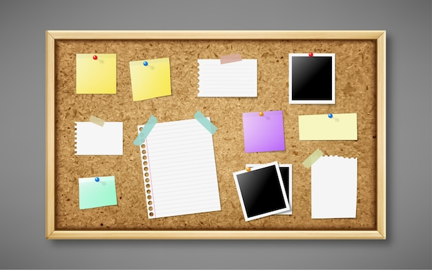 Realistic cork board with notes