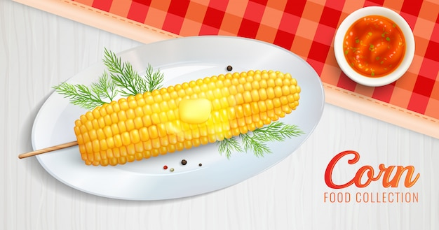 Realistic corn on plate illustration