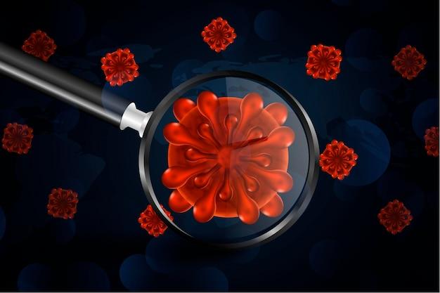 現実的なコロナウイルス細胞が拡大鏡の背景を通して見る