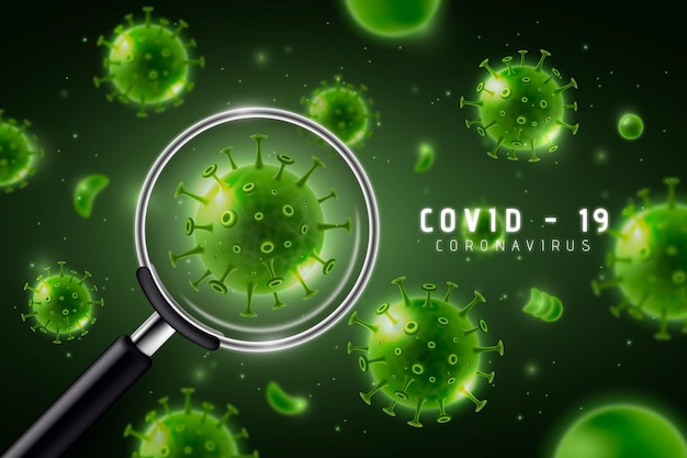 Realistic coronavirus cell look through a magnifying glass background