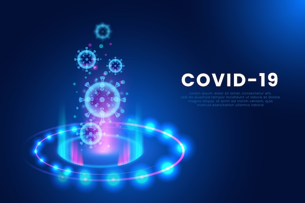 Реалистичная фон голограммы коронавируса
