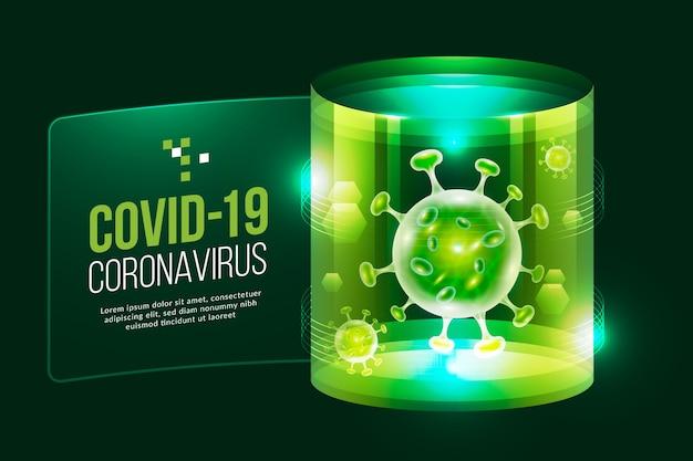 현실적인 코로나 바이러스 홀로그램 배경