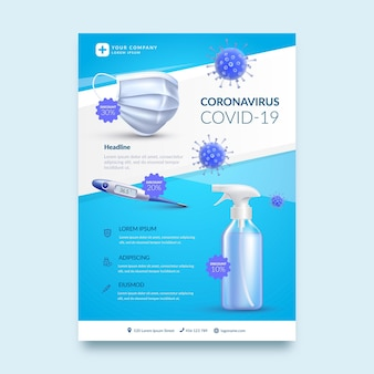 Realistic coronavirus medical products flyer template