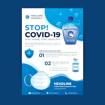 Realistic coronavirus medical products flyer