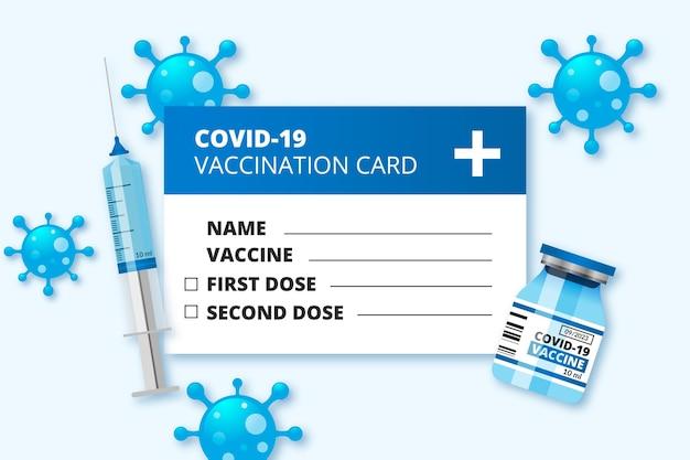 Modello realistico di scheda di registrazione della vaccinazione contro il coronavirus