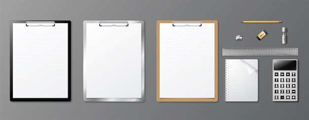 Realistic corporate identity design book  and clipboard.