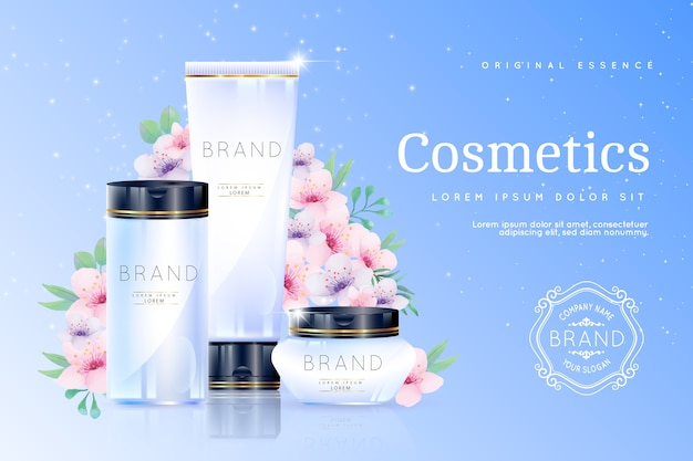 Realistic cosmetic background with beauty products