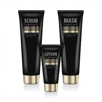 Realistic cosmetic black bottles with gold caps.  tubes for mask, lotion, scrub.  illustration
